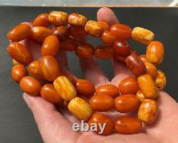 Antique Natural Butterscotch Egg Yolk Baltic Amber Beads Necklace 81.5g