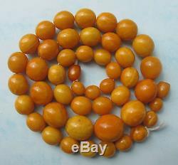 Antique Natural Butterscotch Egg Yolk Baltic Amber Beads Necklace 85Gr