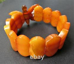 Antique Natural Butterscotch Egg Yolk Baltic Amber Bracelet 19.8g