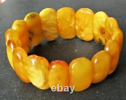 Antique Natural Butterscotch Egg Yolk Baltic Amber Bracelet 24.2g