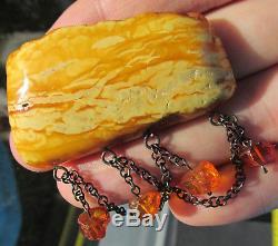 Antique Natural Butterscotch Egg Yolk Baltic Amber Brooch 14.1g