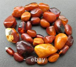 Antique Natural Butterscotch Egg Yolk Baltic Amber Necklace 56g