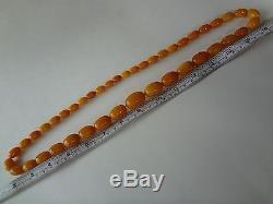 Antique Natural Butterscotch Egg Yolk Baltic Amber Olives Beads Necklace 74 gr