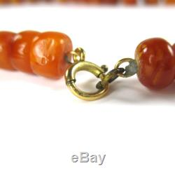 Antique Natural Butterscotch Egg Yolk Baltic Amber Round Beads Necklace 121.7g