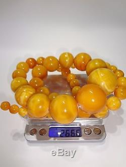 Antique Natural Butterscotch Egg Yolk Baltic Amber Round Beads Necklace 266 Gr