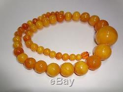 Antique Natural Butterscotch Egg Yolk Baltic Amber Round Beads Necklace 97.4 g