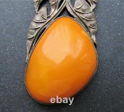 Antique Natural Butterscotch Egg Yolk Baltic Amber Silver 925 Necklace 25g