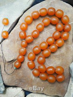 Antique Natural Butterscotch Yolk Baltic Amber Bead Rosary 1900 Large 146 gr WOW
