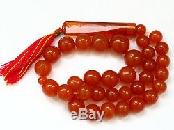 Antique Natural Butterscotch Yolk Baltic Amber Bead Rosary 1930 Large 107 gr WOW
