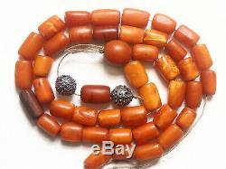 Antique Natural Butterscotch Yolk Baltic Amber Beads Rosary 1800 Tibetan 34 gr