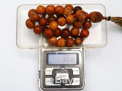 Antique Natural Butterscotch Yolk Baltic Amber Beads Rosary 19th 36 gr Tatars