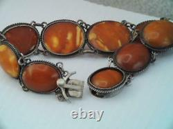 Antique Natural Egg Yolk Baltic Amber Sterling Silver Bracelet Hallmarked W. L