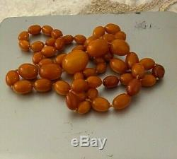 Antique Natural Egg Yolk Butterscotch Baltic Amber Bead Necklace 82g Vintage Set