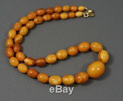 Antique Natural Egg Yolk Butterscotch Baltic Amber Beads Necklace Art Deco 20gr