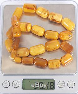 Antique Natural Egg Yolk Butterscotch Baltic amber necklace, 39.18 grams