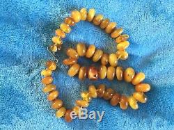 Antique Natural Old Baltic Vintage Butterscotch Amber Beads Necklace