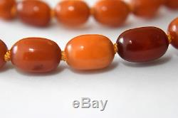 Antique Natural Untreated Baltic Butterscotch Amber Necklace 34 Grams 28 Long
