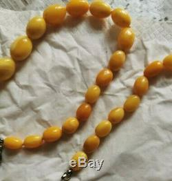 Antique Natural White, Butterscotch Egg Yolk Baltic Amber Beads Necklace