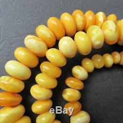 Antique Natural White, Butterscotch Egg Yolk Baltic Amber Necklace 62.6g