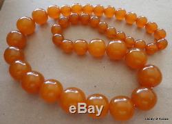 Antique Natural butterscotch egg yolk Baltic Amber Round Beads Necklace 90gr