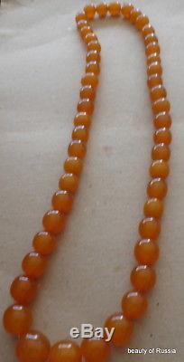 Antique Natural butterscotch egg yolk Baltic Amber Round Beads Necklace 95gr