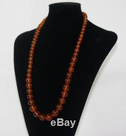 Antique Natural cognac Baltic Amber Round Beads Necklace 59 grams