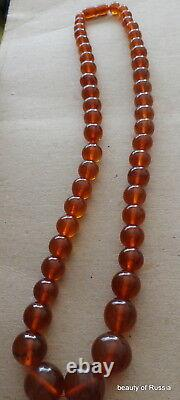 Antique Natural cognac Baltic Amber Round Beads Necklace 71 grams #55cog