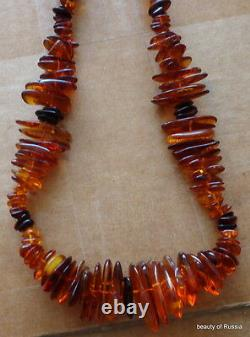 Antique Natural cograc Baltic Amber Beads Necklace 43 grams 20