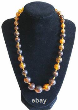 Antique Necklace Natural Baltic Amber Graduated Bead Strand