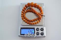 Antique OLD Natural BALTIC AMBER Necklace Round Beads RED Butterscotch 12.6 gr
