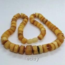 Antique Old Amber Beads Necklace Butterscotch Egg yolk Natural Baltic Stones 30g