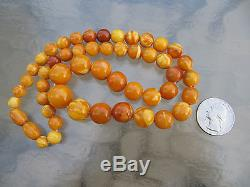 Antique Old Egg Yolk Butterscotch Natural Baltic Amber Necklace 33 Grams
