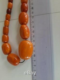 Antique Old Natural Baltic Amber 29 Beads Necklace 75.1 Grams