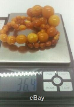 Antique Old Natural Baltic Amber Beads Necklace 36.4 Gram