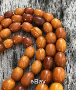 Antique Old Natural Baltic Butterscotch Egg Yolk Amber 2 Strand Necklace 49.9g