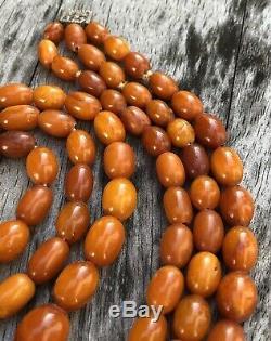 Antique Old Natural Baltic Butterscotch Egg Yolk Amber 3 Strand Necklace 60g