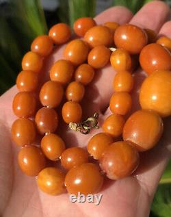 Antique Old Natural Baltic Butterscotch Egg Yolk Amber Swirl Bead Necklace 28.8g