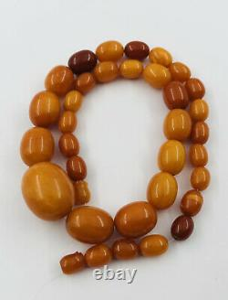 Antique Old Natural Baltic Butterscotch Egg Yolk Amber Swirl Bead Necklace 41g