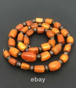 Antique Old Natural Baltic Butterscotch Egg Yolk Amber Swirl Bead Necklace 78.3g