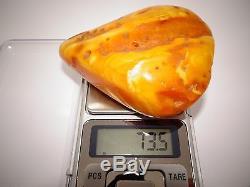 Antique Old Natural Baltic Egg Yolk Butterscotch Amber 73.5 Grams