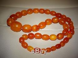Antique Old Olive Egg Yolk Butterscotch Natural Baltic Amber Necklace 32 Grams