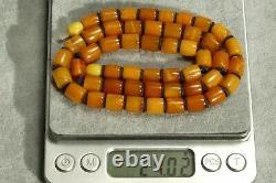 Antique Original Handmade Carving Last Century Baltic Amber Necklace