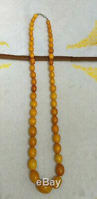 Antique Tibetan Butterscotch egg yolk Amber Baltic Beaded Necklace 46 Grams
