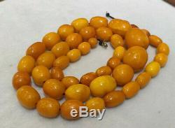 Antique Tibetan Butterscotch egg yolk Amber Baltic Beaded Necklace 71 Grams