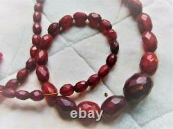 Antique Victorian Baltic Amber Necklace, Natural Baltic Dark Honey Faceted Amber