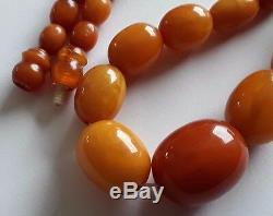 Antique Vintage 1920 c Rare Natural Baltic Amber Olive Beads Necklace