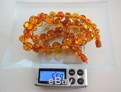 Antique Vintage Baltic NATURAL Tempered Amber Round BEADS Necklace 56,9gr