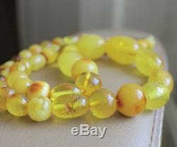 Antique Vintage Butterscotch Egg Yolk Natural Baltic Amber Necklace Beads 24,4 G
