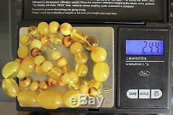 Antique Vintage Butterscotch Egg Yolk Natural Baltic Amber Necklace Beads 24,4 G