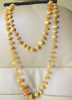 Antique Vintage Gorgeous Butterscotch Natural Baltic Amber Necklace Bead 53,8 G
